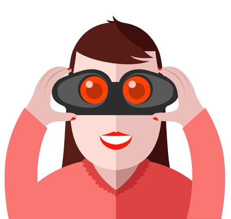 Man looking through binoculars. Search binoculars vector illustration. Binoculars in the hands of man. Detective watching.