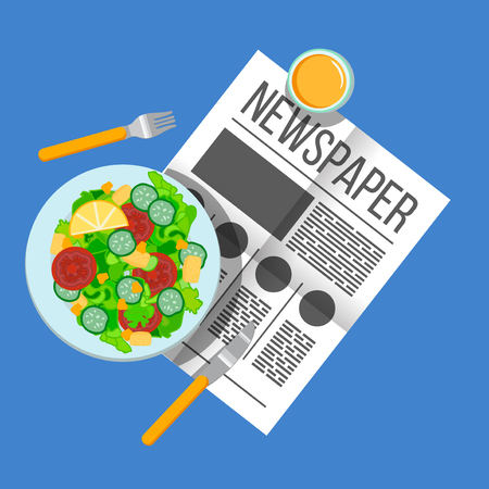 english breakfast: Breakfast vegetable salad and orange juice top view. Newspaper on table with food illustration. Morning breakfast food and drink. Plates of Breakfast on the table. Family Breakfast in different cultures.