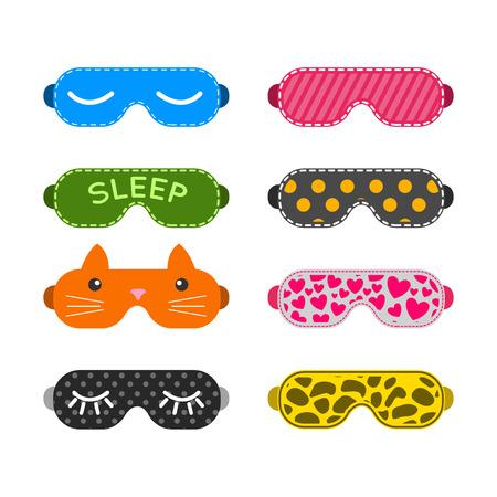 sleeping tablets: Sleep mask vector set. Night sleeping mask vector icon. Sleep mask for travel. Relax sleep mask. Mask for sleeping without stress.