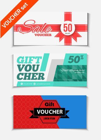 scroll border: Gift voucher vector set. Sale voucher vector illustration. Store voucher with text. Shop voucher promotion. Restaurant voucher vector background. Voucher for print. Discount voucher design.