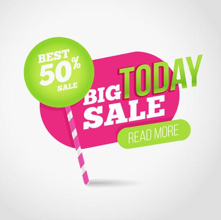 auction off: Big sale promotion banner with offer. For coupon or web background. Candy with percent sale. Colorful design. Illustration