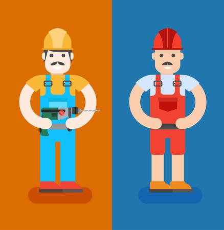 repairmen: ?onstruction workers with repair tools. Building specialists vector illustration. Cartoon repairmens with smile. Good builders in uniform. Service man.