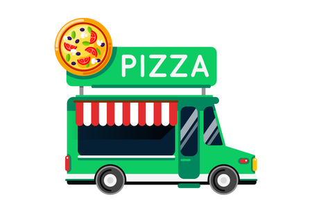 Pizza food truck city car. Food truck, auto cafe, mobile kitchen, hot fastfood, italian pizza. Design elements. Isolated on white. Street food car. Foodtruck Street food van.