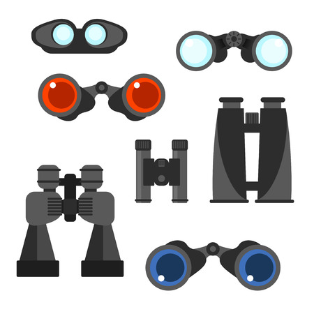 voyeur: Binocular vector set. Zoom tool equipment military illustration. Binocular glass. Navigation tool set.