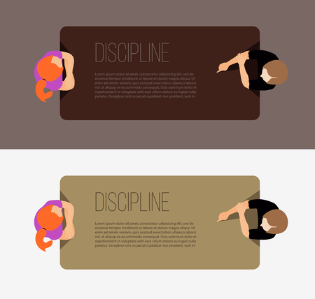 discipline: Discipline in the workplace. The mother communicates with the child. The fellowship around the table. The discussion at the table