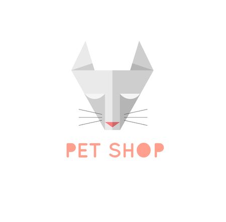 grey cat: Pet shop logo template. Triangle grey cat sign. Pet shop or store emblem.