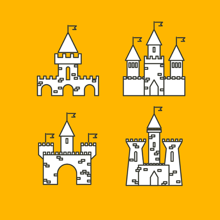 castle tower: Castle vector set. Castle tower vector logo. Castle turret with flag. History castle architecture illustration. Princess castle sign. Castle behind the wall.
