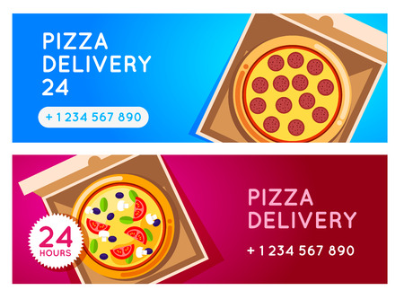 pizza ingredients: Pizza delivery vector background. Pizza 24 hours. Pizza with pizza box. Hot fast food pizza delivery. pizza banner for restaurant or cafe. 24 hours cafe delivery. Pizza to go.