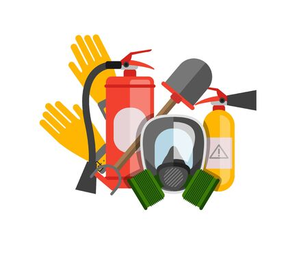 safety equipment: Safety equipment vector set. Fire protection and fire. A gas mask and a fire extinguisher. Set firefighter or rescuer. Rescue tools. Safety work Illustration