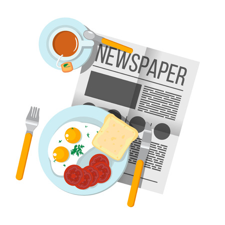 english breakfast: English Breakfast scrambled eggs with bacon and tea top view. Newspaper on table with food illustration. Morning breakfast food and drink. Plates with Breakfast on the table. Family Breakfast in London. Illustration