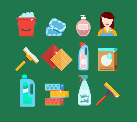 bleach: Cleaning tools vector set. Detergents for cleaning home or hotel. Cleaning products. Clean service vector icon.