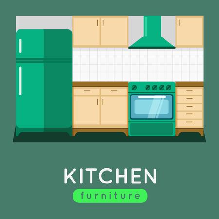 modern kitchen: Kitchen furniture vector illustration. Modern kitchen interior. Oven and fridge with extractor fan. Kitchen table.