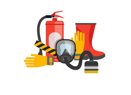 Estableció el equipo de seguridad del vector. Protección contra el fuego y el fuego. Una máscara de gas y un extintor. bombero conjunto o rescatador. herramientas de rescate. Trabajo de seguridad Foto de archivo - 52731474