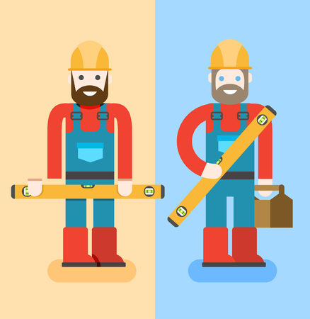 specialists: ?onstruction workers with repair tools. Building specialists vector illustration. Cartoon repairmens with smile. Good builders in uniform. Service man.