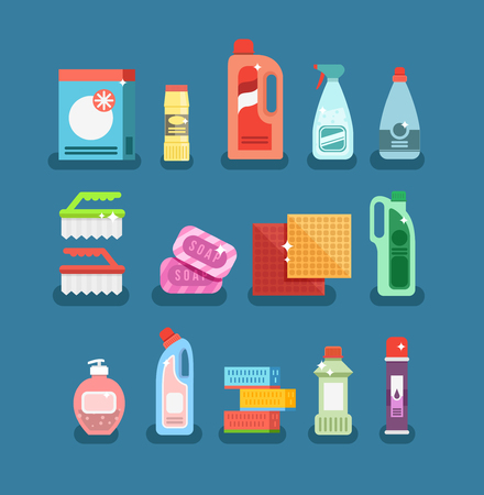 solvent: Cleaning tools vector set. Detergents for cleaning home or hotel. Cleaning products. Clean service vector icon.