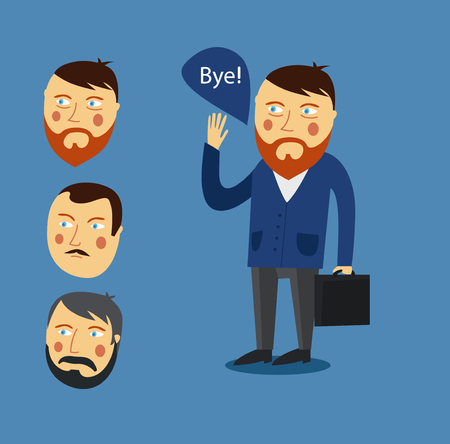 promising: Businessman greeting partner vector concept. Business meeting. Colleagues say goodbye or Hello. Handshake men. Communication men businessmen. Deal between people Illustration