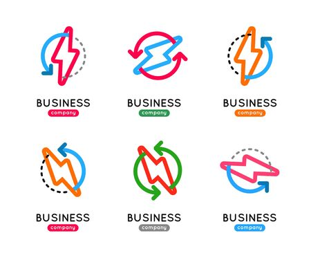 thunderbolt: Thunderbolt vector icon set. Thunderbolt business logo. Thunderbolt company icon. Thunderbolt outline design icon. Thunderbolt vector set