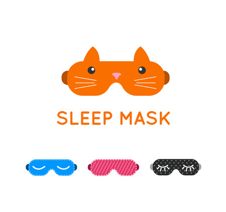 Sleep mask vector set. Night sleeping mask vector icon. Sleep mask for travel. Relax sleep mask. Mask for sleeping without stress.