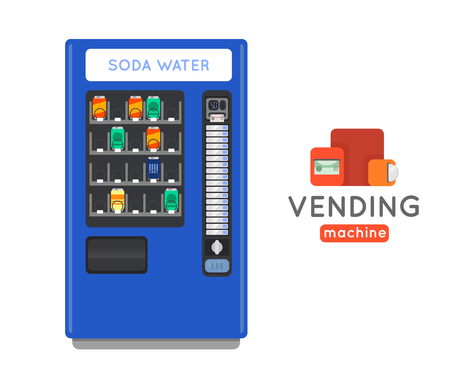 processed: Vending machine vector set. Sell snacks and soda drinks vending machines. Vending machine with copropriete. Vending machine credit card pay. Vending machine merchandising.