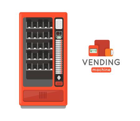 자동 판매기 벡터 집합입니다. 스낵 및 소다 음료 자동 판매기 판매. 자동 판매기. 자동 판매기 신용 카드 지불. 자판기 머천다이징.