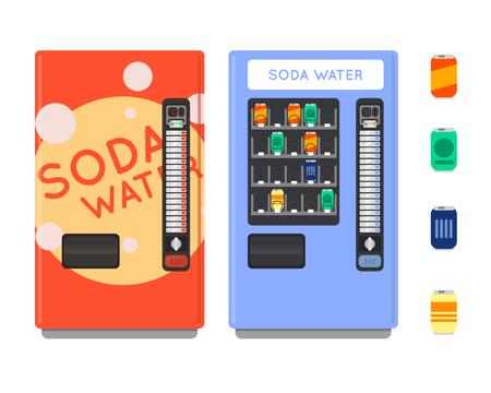 Automaat vector set. Verkopen snacks en frisdrank drankautomaten. Automaat met Copropriete. Automaat creditcard betalen. Automaat merchandising. Vector Illustratie