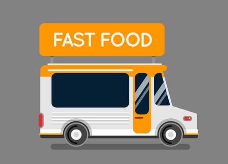 negocios comida: La comida rápida del coche del carro de la ciudad. camión de comida inconformista, café automático, cocina móvil, comida rápida caliente, verduras. Elementos de diseño. Aislado en blanco. Coche de la calle alimentos. Foodtruck calle van los alimentos