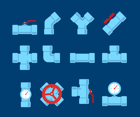drain: Pipe fitting vector set. Pipeline vector illustration. Pipe fitting for repair home. Gas pipe. Water pipe set. Sewerage vector illustration. Water drain or drainage system