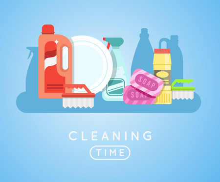 home products: Cleaning tools vector set. Detergents for cleaning home or hotel. Cleaning products. Clean service vector icon.