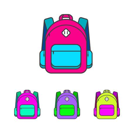 packsack: School bag vector illustration. Colorful school bag vector icon. School bag for student. Trend lines design schoolbag. School bag for books.