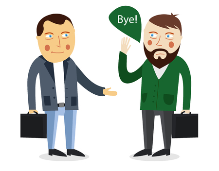 personas saludandose: saludo del hombre de negocios concepto de socio del vector. Reunión de negocios. Los colegas dicen adiós o hola. apretón de manos los hombres. los hombres de negocios de comunicación. Trato entre las personas