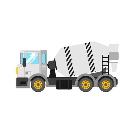 truck concrete mixer: Construction cement mixer truck. Building concrete mixer car. Delivery concrete to construction. Concrete mixer truck vector illustration. Illustration