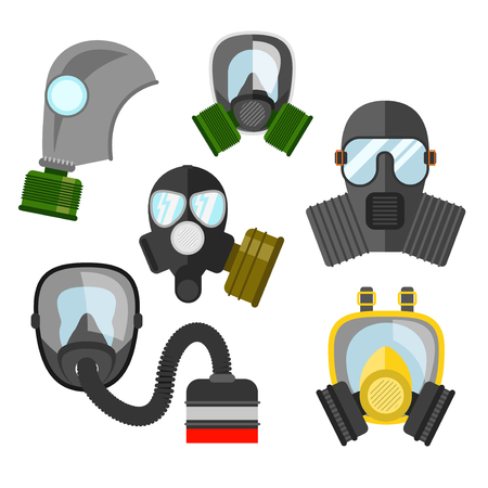 chemical warfare: Gas mask vector set. Gas mask for firefighters and military. Respirator mask. Gasmask with filter. Different kinds of gas mask illustration.