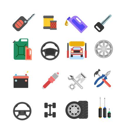 car tire: Car parts vector set. Car service vector icon set. Car parts shop banner. Car service. Tire service vector icon set. Repair car service