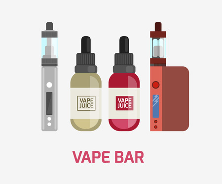 vapor: Vape device vector set. Vaping juice for vape. Vape trend new culture. Vape smoking. Vapor vaping. Vape vector sign.