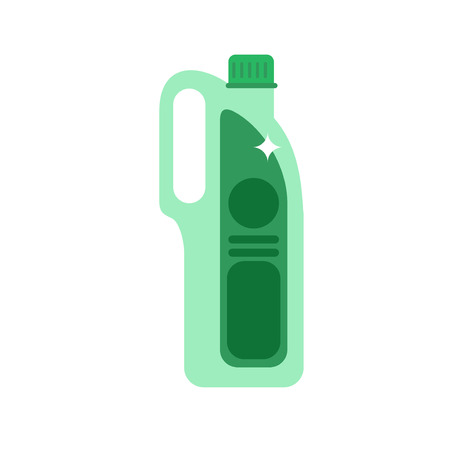 chemical cleaning: Detergent bottle vector illustration. Flat cleaning agent. Plastic container with chemical cleaner.
