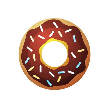 topping: Vector donut icon. Sugar donut illustration. Caramel donut sign. Donut with topping. Donut for bakery menu. Cafe donut. Glazed cool donut. Flat donut illustration.