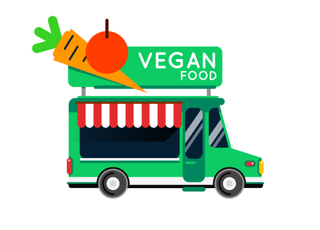 Vegan food truck city car. Vegan Food hipster truck, auto cafe, mobile kitchen, hot fastfood, vegetables. Design elements. Isolated on white. Vegetarian Street food car. Foodtruck Street food van. Çizim