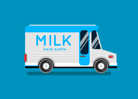 local supply: Delivery milk truck vector illustration.