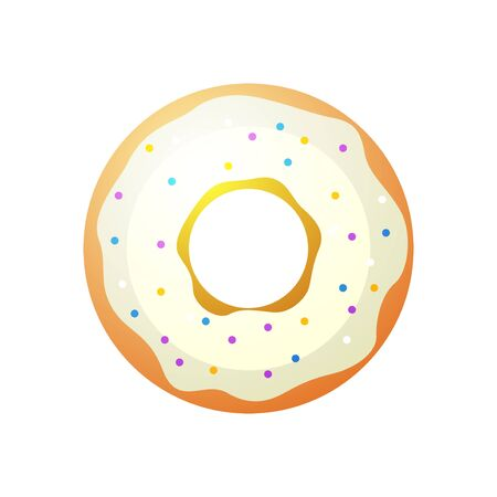 glazed: Vector donut icon. Sugar donut illustration. Caramel donut sign. Donut with topping. Donut for bakery menu. Cafe donut. Glazed cool donut. Flat donut illustration.