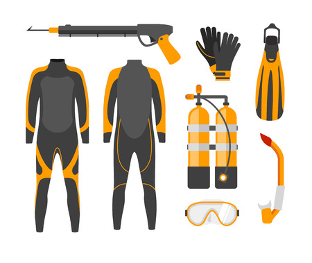 wetsuit: Diving equipment. Diving Mask. Diving snorkel. Diving oxygen tanks and Diving wetsuit. Diving Vector illustration. Diving gear. Diving tools. Diving in the sea.