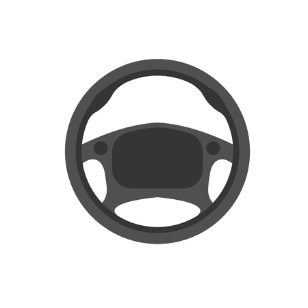 airbag: Car steering wheel vector icon. Car steering leather material. School of governance car vector logo. Car parts. Illustration