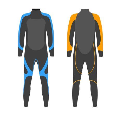 Tauchanzug Vektor-Illustration. Anzug für Speerfischen. Tauchen Outfit. Tauchausrüstung Kit.