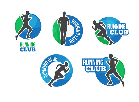 vector logo maratón. Correr icono del club. ? OMPETENCIA en la carrera. Entrenamiento cardiovascular. Ejecutar la etiqueta del club o emblema. Triatlón icono del vector con el hombre corriente.