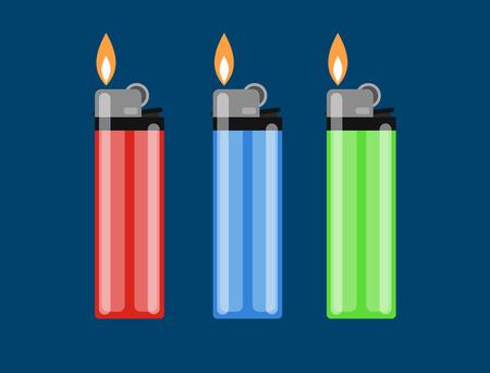 ?igarette lighter vector illustration. Cigarette lighter icon set. Cigarette lighter flame. Light a cigarette lighter vector illustration. Illustration