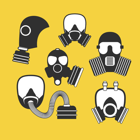 Gas mask vector set. Gas mask for firefighters and military. Respirator mask. Gasmask with filter. Different kinds of gas mask illustration.