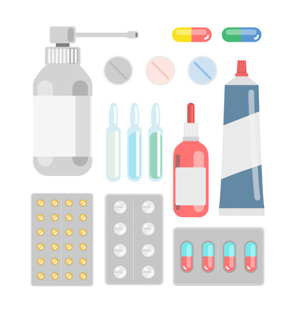 cough medicine: Pills against diseases vector set. Pills in your medicine chest. Pills bottles vector illustration. Aerosol cough. Pills, capsule, drugs against viruses.