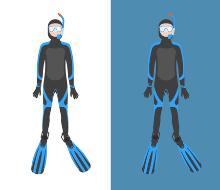 spearfishing: Diving suit vector illustration. Suit for spearfishing. Scuba diving outfit. Diving equipment kit.