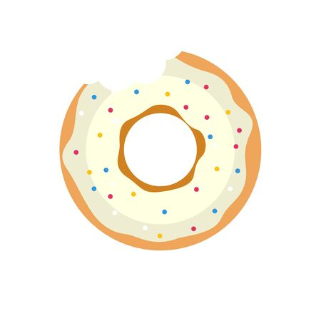 Vector donut icon. Sugar donut illustration. Caramel donut sign. Donut with topping. Donut for bakery menu. Cafe donut. Glazed cool donut. Flat donut illustration.