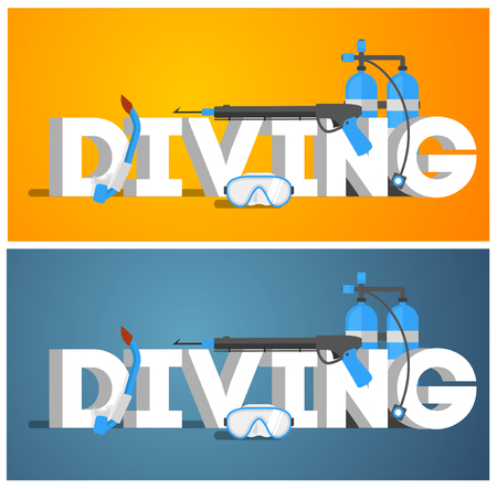 snorkelling: Diving equipment. Diving Mask. Diving snorkel. Diving oxygen tanks and Diving wetsuit. Diving Vector illustration. Diving gear. Diving tools. Diving in the sea.