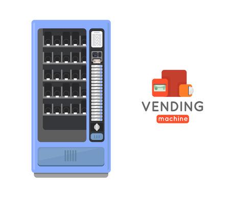 Automaat vector set. Verkopen snacks en frisdrank drankautomaten. Automaat met Copropriete. Automaat creditcard betalen. Automaat merchandising.